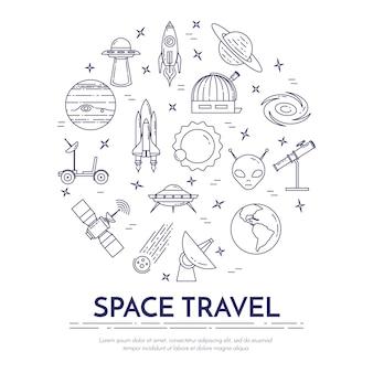 Banner de línea de viajes espaciales con pictogramas de cosmos.