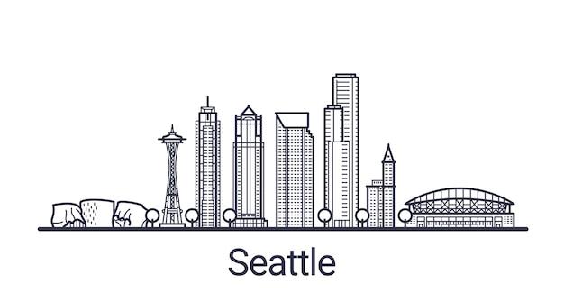 Banner lineal de la ciudad de seattle en dibujado a mano