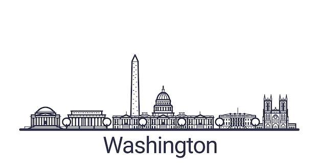 Banner lineal de la ciudad de washington en dibujado a mano