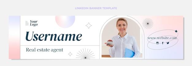 Banner de linkedin de gradiente de bienes raíces