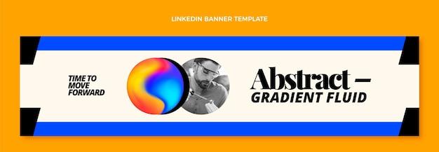 Banner de linkedin de tecnología fluida abstracta degradado