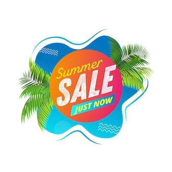 Banner liquido abstracto de venta de verano