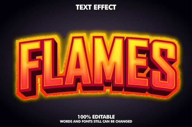 Banner de llamas - efecto de texto de fuego caliente