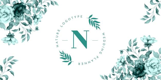 Banner de logo de naturaleza con flores vintage