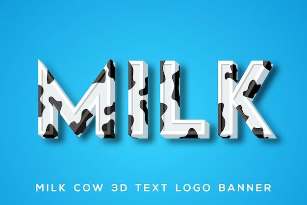 Banner de logo de texto de vaca lechera
