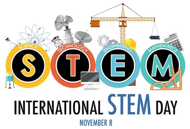 Banner del logotipo del día internacional stem el 8 de noviembre