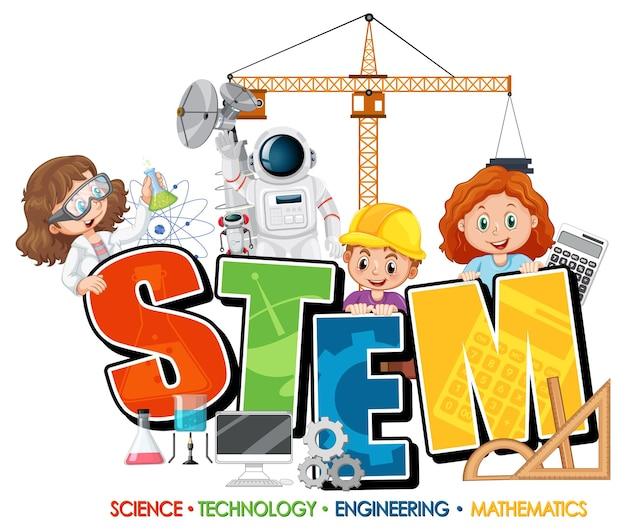 Banner de logotipo de educación stem con personaje de dibujos animados para niños