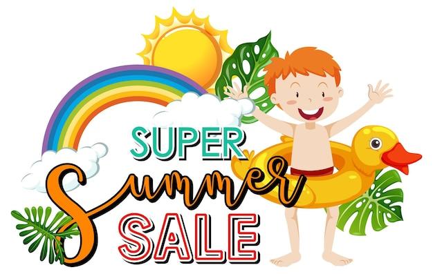 Banner de logotipo de super summer sale con un personaje de dibujos animados de niño