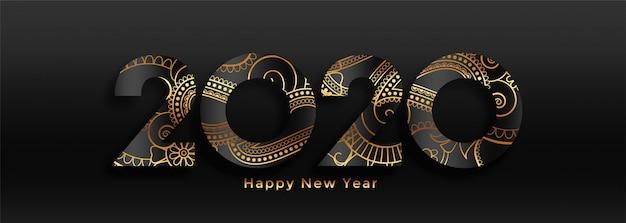 Banner de lujo 2020 feliz año nuevo negro y oro