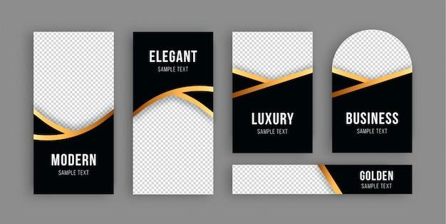 Banner de lujo dorado colección