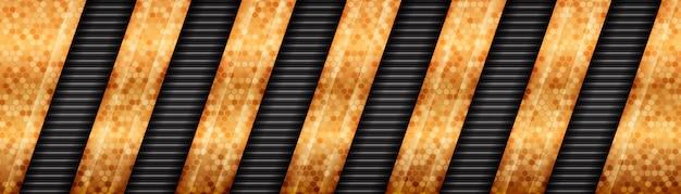 Banner de lujo gris oscuro con capas superpuestas de líneas doradas