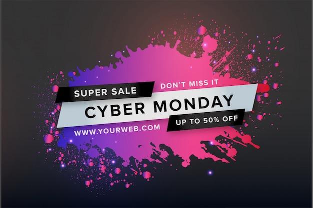 Banner de lunes cibernético con salpicaduras de colores