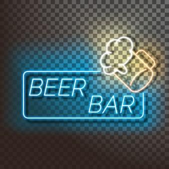 Banner de luz de neón de bar de cerveza en azul