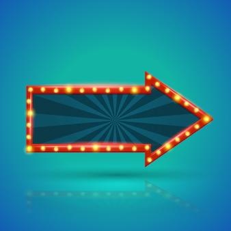 Banner de luz retro flecha con bombillas en el contorno