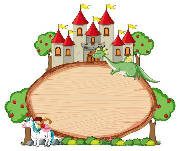 Banner de madera en blanco con personaje de dibujos animados de cuento de hadas y elementos aislados