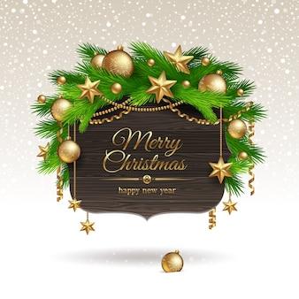 Banner de madera con decoración navideña dorada