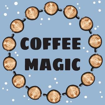 Banner mágico de café con tazas de café