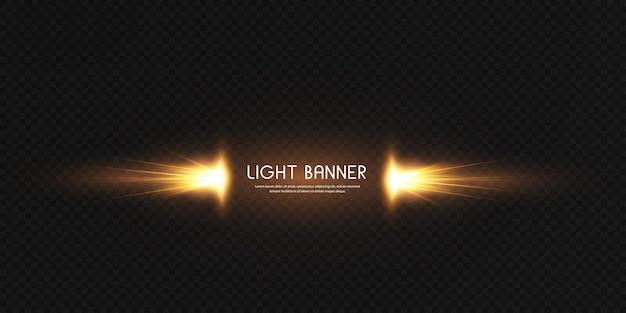 Banner con mágico efecto resplandor dorado brillante. potente flujo de energía de energía luminosa.