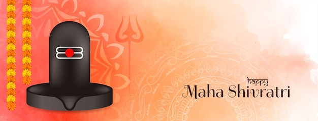 Banner de maha shivratri con diseño de shiv linga