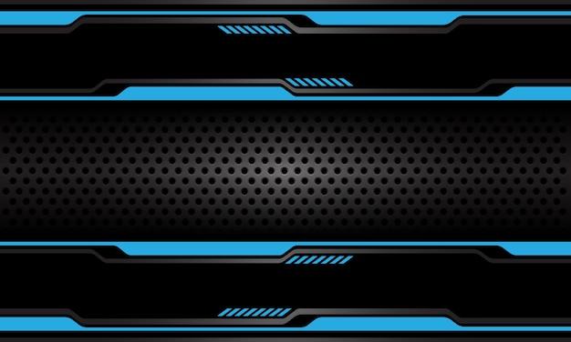 Banner de malla de círculo gris oscuro abstracto sobre fondo de tecnología futurista de línea cibernética negra azul.