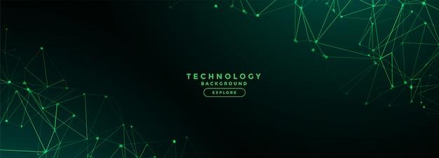 Banner de malla de líneas de red de tecnología digital