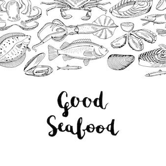 Banner con mano dibujado elementos de mariscos y letras