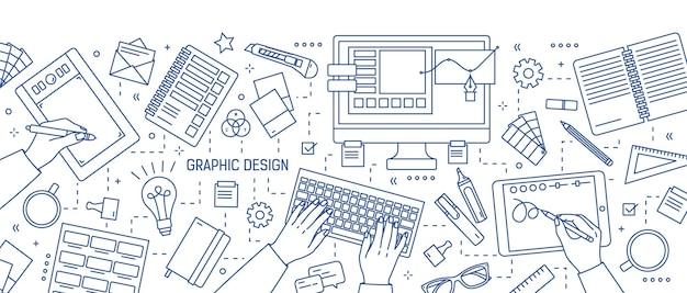 Banner con manos de diseñador trabajando en editor digital en tableta, papelería y herramientas de arte dibujadas con líneas azules