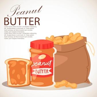 Banner de mantequilla de maní. pedazo de mantequilla de pan. pasta alimenticia para untar hecha de maní molido tostado en seco. saco lleno de productos