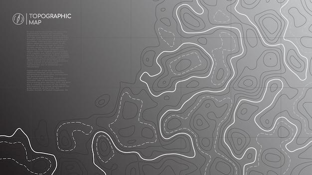 Banner de mapa topográfico abstracto con espacio de copia.
