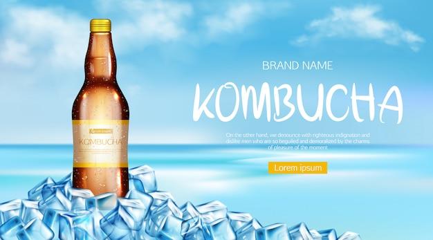 Banner de maqueta de botella de kombucha