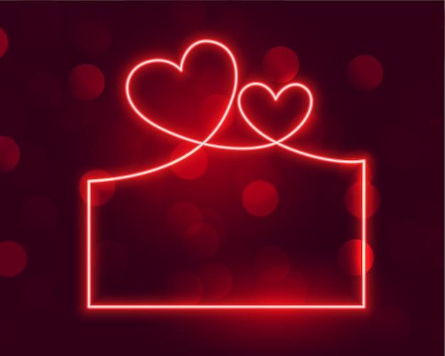 Banner de marco de concepto de día de san valentín de neón brillante
