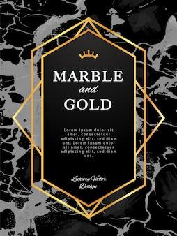 Banner de marco dorado sobre fondo de mármol negro. diseño vectorial de estilo de lujo.