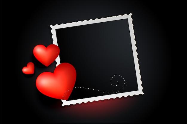 Banner de marco de fotos de corazones rojos preciosos