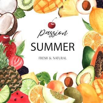 Banner de marco de frutas tropicales con texto, maracuyá con kiwi, piña, patrón frutal