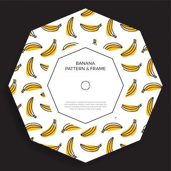 Banner de marco con plátanos de fruta amarilla. ilustración de verano con un espacio vacío para texto
