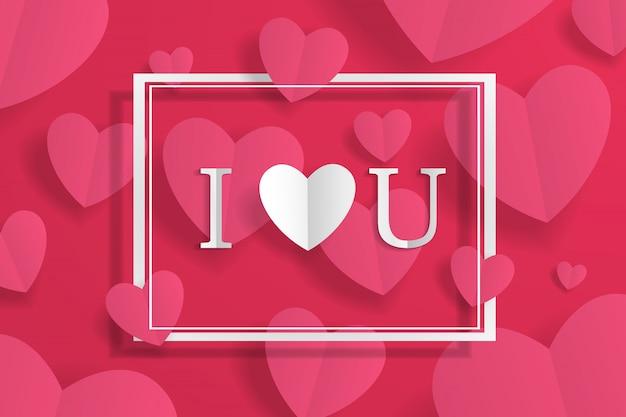 Banner con marco y te amo firmar, papel artesanal origami corazón y letras en el fondo. para publicidad, regalo, tarjeta de felicitación, volantes, papel tapiz
