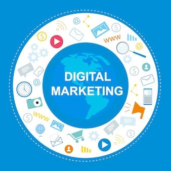 Banner de marketing digital. símbolo de internet, redes sociales