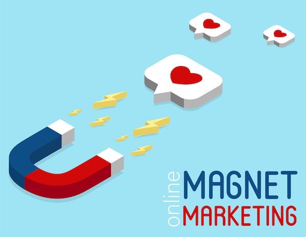 Banner de marketing de imán en estilo isométrico. concepto de marketing en redes sociales en línea. campaña publicitaria en red social. infografía isométrica. estrategia de retención de clientes.