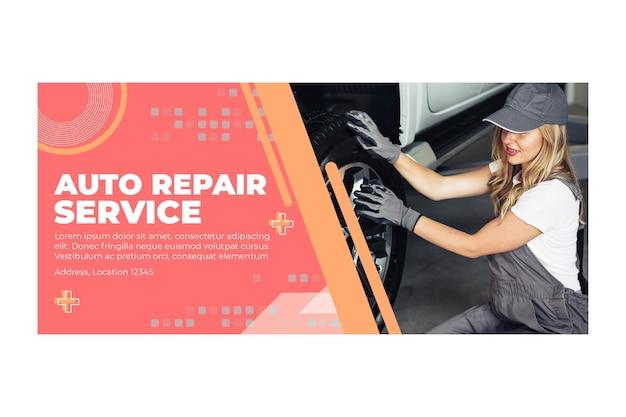 Banner de mecánico de reparación de automóviles