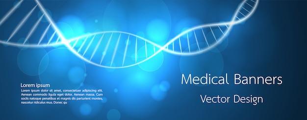Banner médico de adn y tecnología de fondo.