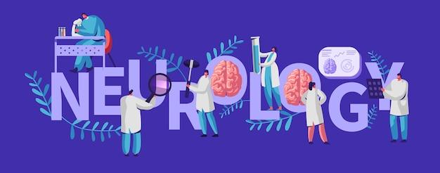 Banner médico de neurología. médico neurólogo médico especialista hospitalario. procedimiento de examen de enfermedades por tomografía de diagnóstico profesional para el paciente. ilustración de vector de dibujos animados plana