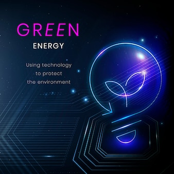 Banner de medio ambiente de vector de plantilla de tecnología de energía verde