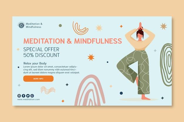 Banner de meditación y atención plena. vector gratuito