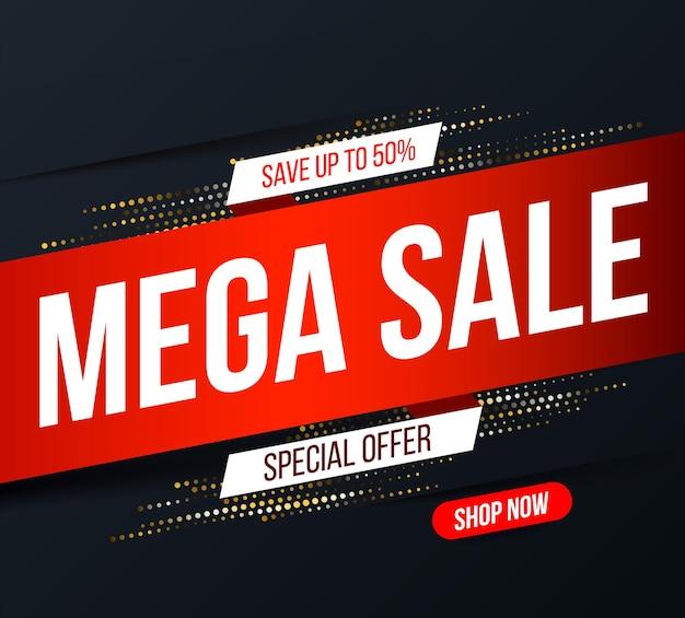 Banner de mega venta abstracto con efecto de brillo de semitono dorado para ofertas especiales