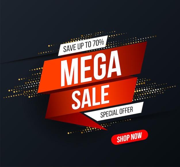 Banner de mega venta abstracto con efecto de brillo de semitono dorado