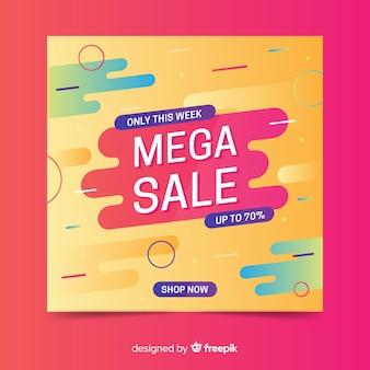 Banner de mega venta colorido abstracto