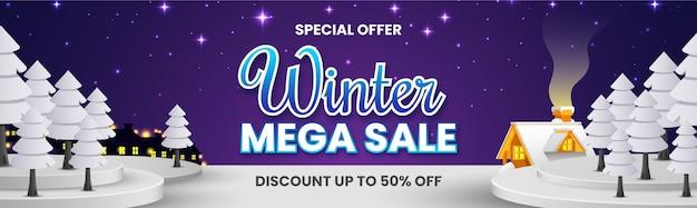 Banner de mega venta de invierno