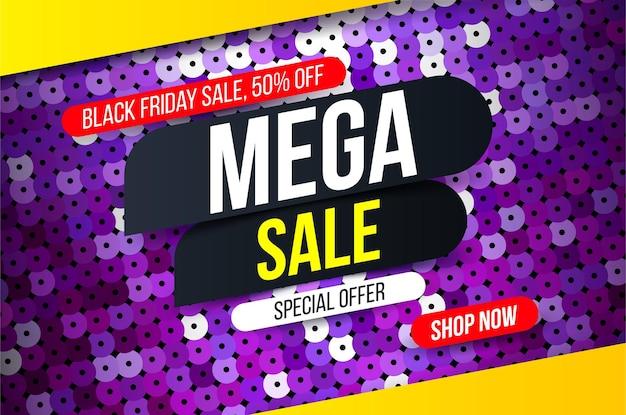 Banner de mega venta moderno con efecto de tela de lentejuelas púrpura para ofertas especiales, ventas y descuentos