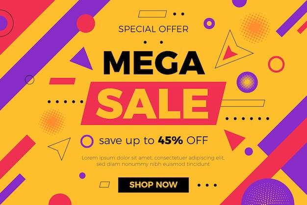 Banner de mega venta plano abstracto