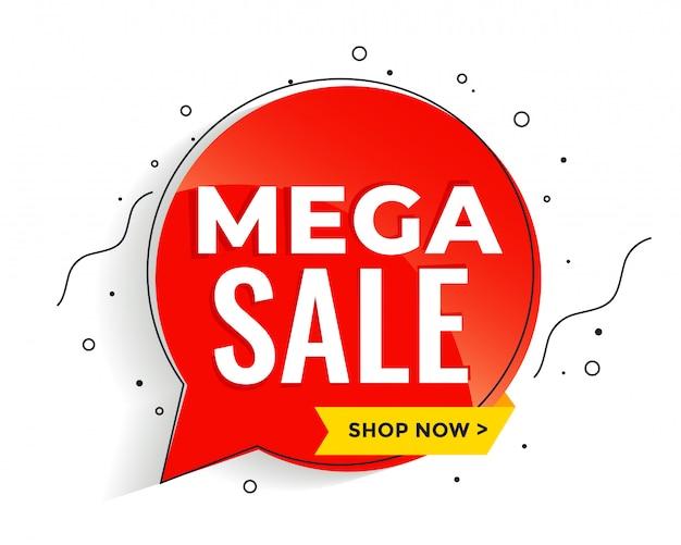 Banner de mega venta en plantilla de banner de estilo memphis